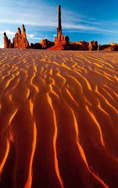 Sunrise at Totem Pole, Yei-Bi-Chei and dunes, Monument Valley, Arizona. The Totem Pole is a pillar or rock spire found in Monument Valley. It is a highly eroded remains of a butte. Places Around The World, Oh The Places You'll Go, Places To Travel, Places To Visit, Around The Worlds, Travel Destinations, Monument Valley, Valley Park, Parcs