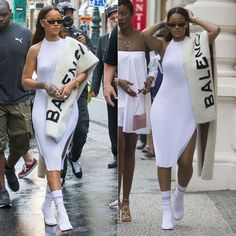 Rihanna walked the streets of Prague wearing Faustine Steinmetz's white pleated halter dress and Vetements white sock boots.