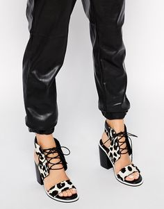 Image 1 of Senso Riley Leopard Pony Heeled Sandals