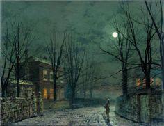 The Old Hall Under Moonlight - John Atkinson Grimshaw