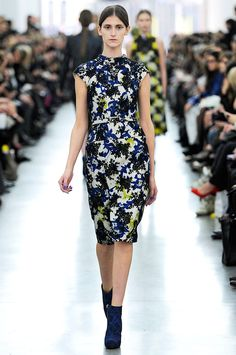 Beautiful blue + black floral dress with chartreuse accents // Erdem RTW Fall 2012
