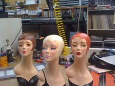 retro painted mannequin heads for jewelry, hat, scarf displays