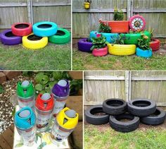 What do you need for garden decoration from old tires? Spray paint and creativity! More information: Doknow ... - cool ideas for home and garden, great DIY things. website !…