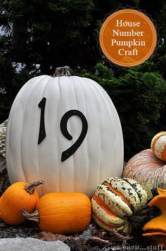 Halloween craft to make a house number pumpkin.