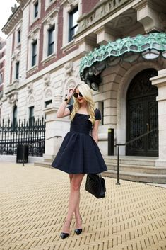 little black dress with classic pumps