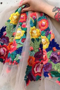 Flower embroidery on tulle by Ignancia Jullian #embroidery #flowerembroidery #flowerart