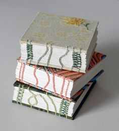 Beautiful, imaginative stitching on coptic books by @natalie stopka .