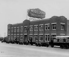 Moreland Truck Factory located on the northwest corner of San Fernando Road and Alameda Avenue in Burbank, 1920. Construction started in 1917 and the factory opened in 1920. The company closed in 1940. Burbank Historical Society. San Fernando Valley History Digital Library.