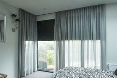 Wonderful Tricks: Vertical Blinds With Curtains grey bedroom blinds.Blinds For Windows Ikea grey bedroom blinds. Sheer Curtains Bedroom, Bedroom Blinds, Voile Curtains, Bedroom Windows, Curtains Or Blinds, Curtains And Blinds Together, Drapery, Blue Grey Curtains, Lounge Curtains