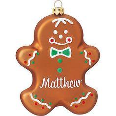 Personalized Gingerbread Man Glass Ornament; Weihnachten in der Küche