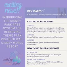 Want to visit a Walt Disney World theme park? There's only one way to get in now! Read more here! Disney World Theme Parks, Walt Disney World Vacations, Disney Resort Hotels, Hotels And Resorts, Disney Park Passes, Disney Reveal, Booking Information, Key Dates, Middle