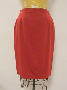 *HOLIDAY* ESCADA Lipstick Red Pencil Straight Skirt Sz 38 Small US RETAIL $495 #ESCADA #StraightPencil