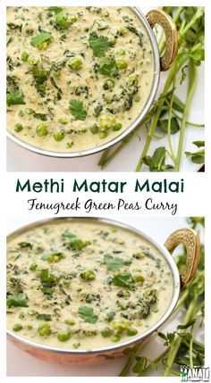 Methi Matar Malai - Fenugreek leaves and green peas in a rich creamy curry. Find the recipe Methi Recipes, Veg Recipes, Curry Recipes, Indian Food Recipes, Vegetarian Recipes, Cooking Recipes, Jain Recipes, Dishes Recipes, Malai Recipe