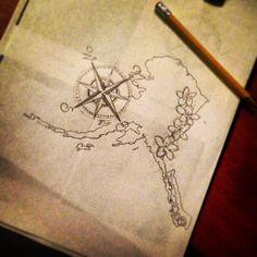 My Alaska tattoo I drew up:) flowers need some help but I'm pretty satisfied with it..