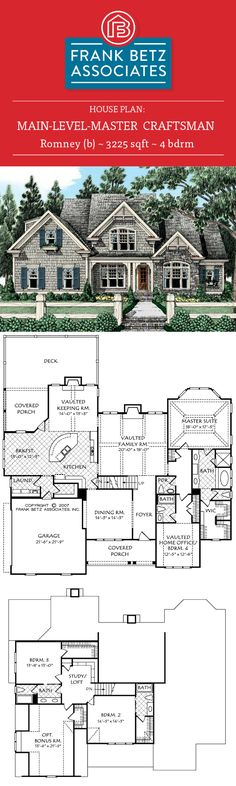 Romney (b): 3225 sqft, 4 bdrm Main-level-master, craftsman house plan design by Frank Betz Associates Inc.