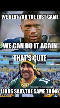 Seattle Seahawks quarterback Russell Wilson has a message for Green Bay Packers quarterback Aaron Rodgers. Aaron Rodgers thinks that's really cute. Nfl Jokes, Funny Football Memes, Funny Nfl, Funny Sports Memes, Sports Humor, Funny Memes, Basketball Memes, Football Humor, True Memes