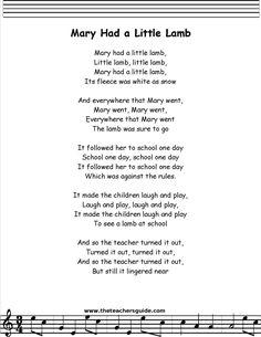 Lyrics of Mary Had a Little Lamb Lullaby Songs, Baby Songs, Songs To Sing, Kindergarten Songs, Preschool Songs, Preschool Worksheets, Nursery Rhymes Lyrics, Kids Nursery Rhymes, Songs For Toddlers