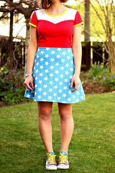 Perfect Pattern Parcel: Lady Skater / Ava Mashup into Wonder Woman Dress