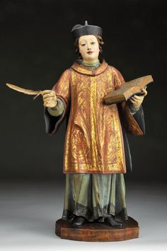 """""""São Filipe de Nery""""  escultura em madeira policromada. Portugal  séc. XVIII"""