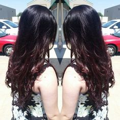 #mulpix Black base with violet red balayage ombre. Some tape in extensions to…