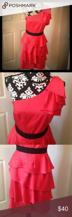 BCBGmax coral and black party dress. Gorgeous coral evening party dress with black waist accent. Ruffled skirt and one shoulder detail. Adjustable shoulder strap and back zip. Lined with boning.. BCBGMaxazria BCBGMaxAzria Dresses One Shoulder