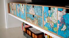 Drawer fronts decoupaged with maps  http://thedecorologist.com/wp/collective-soul-decorating-with-maps