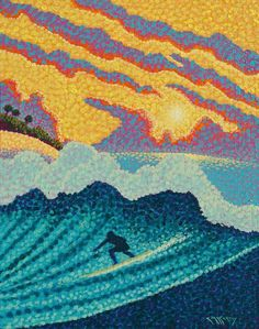 Pointillist Surf Art Original 11 215 14 Painting b Marker Kunst, Marker Art, Painting Inspiration, Art Inspo, Stippling Art, Desenho Tattoo, Tropical Art, Dot Painting, Beach Art