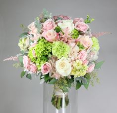 simply gorgeous: 'Vendela' and 'Anna' roses with 'Pink Majolica' spray roses, butter stockflower, blush pink hydrangea, green mini hydrangea and carnations, sweet pink astilbe and touches of seeded eucalyptus and dusty miller.