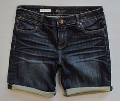 Kut From The Kloth Jeans 6 Catherine Boyfriend Shorts Royal Dark Stretch Denim  #KutfromtheKloth #Denim