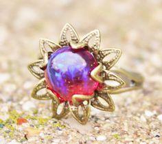 Vintage Dragons Breath Opal RingMexican Opal by hangingbyathread1