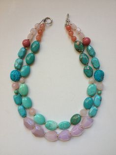 Turquoise pink statement necklace by ZolieDesigns on Etsy, $85.00