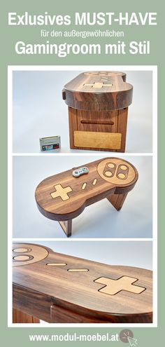Super Nintendo, Alter Computer, Store, Patio Tables, Gift Ideas For Women, Playroom Table, Made To Measure Furniture, Carpentry, Types Of Wood