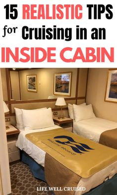 Inside cabins might be small, but they're cozy and let's be honest, the best deal on a cruise! However, you still want to cruise in comfort and make the most of your interior stateroom! Here are 15 real tips to organize and make your inside cabin feel like home, as well as more spacious! Cruise Ship Reviews, Best Cruise Ships, Family Cruise, Cruise Vacation, Disney Cruise, Cruise Excursions, Cruise Destinations, Family Friendly Cruises, Caribbean Cruise