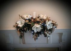 Christmas Floral Centerpiece Lighted Mantel Garland