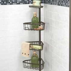 Tension Pole Shower Caddy Improvements By 49 99 Has Adjule Baskets With Hooks To Organize All Your