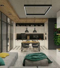 mur-beton-cuisine-armoires-blanches-crédence-peinture-ardoise-haut-plafond-béton-coin-repas.jpg (800×913)
