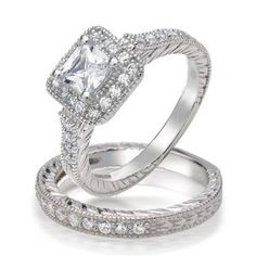 Bling Jewelry Sterling Silver Princess Brilliant Cut CZ Vintage Style Engagement Wedding Ring Set - This vintage styled Engagement and Wedding Ring Set is sure to grab the attention of everyone. The Engagement Ring has at its centerpiece a Prin Cheap Engagement Rings, Engagement Wedding Ring Sets, Engagement Ring Styles, Vintage Engagement Rings, Engagement Ideas, Cz Wedding Bands, Wedding Rings, Bling Jewelry, Wedding Jewelry