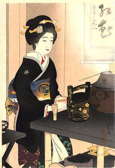 hanga gallery . . . torii gallery: Preparing Tea at Miyako Odori Festival by Suizan Miki, 1924