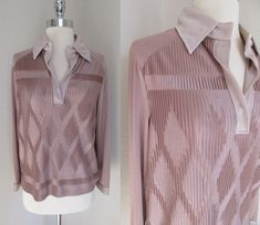 70s Brown Neiman Marcus Pleated Textured Button Down Big