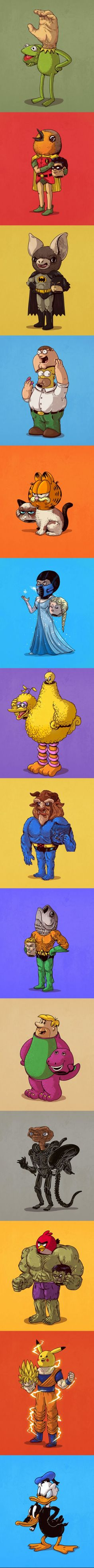 Iconic Characters Unmasked (By Alex Solis) Funny Art, Funny Memes, Funny Riddles, Silly Memes, Iconic Characters, Funny Comics, Funny Cartoons, Geek Culture, Cartoon Art