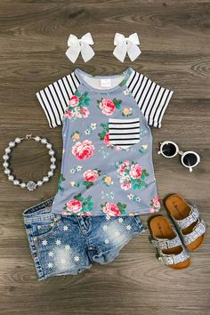 Gracie Gray Floral T-Shirt Toddler Girl Style, Toddler Girl Outfits, Toddler Fashion, Kids Fashion, Toddler Girls, Little Girl Outfits, Cute Outfits For Kids, Little Girl Fashion, Reborn Toddler Dolls