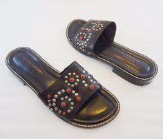 Donald J Pliner Black Leather Red Beads & Studs Slide Sandals Womens 7 M Italy #DonaldJPliner #Slides #Versatile