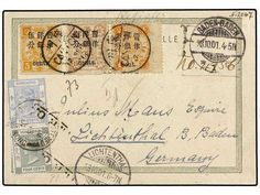 CHINA. 1901. CANTON to GERMANY. Registered postcard with Hong Kong 4 cents gray, 10 cents blue and chinese 1 cent on 1 ch. orange, 5 cents on 5 ch. yellow and 8 cents on 8 ch. lilac with CANTON cancel. Rare and appealing mixed usage.  Dealer SOLER Y LLACH  Auction Minimum Bid: 2400.00 EUR