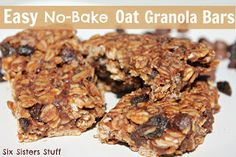 Easy No-Bake Oat Granola Bars from www.sixsistersstuff.com #Healthy Snack #recipe