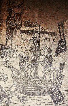 2nd Century Roman Empire mosaics from Palestrine in Rome, Italy. Mosaikk av Ulysses dvs. Odyssevs og Sirens fra en Mansio på de viktigste Prenestina-Polense. 2 århundre. Roma arkeologi.