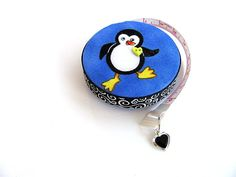 Tape Measure with Cute Penguins Fabric Retractable Measuring Tape by AllAboutTheButtons, $8.75 USD