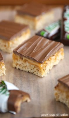 Milky Way Rice Krispie Treats, these are heavenly! The caramel layer melts in your mouth!