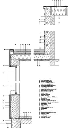 Gallery of Saver House / Peter Kuczia - 28 Architecture Drawings, Architecture Plan, Architecture Details, Fibre Cement Cladding, Timber Cladding, Window Detail, Roof Detail, Wall Section Detail, Houses In Poland