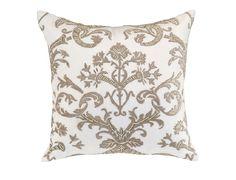 Mackie Square Pillow White Linen / Fawn Velvet (24 x 24) L233ASWF-V