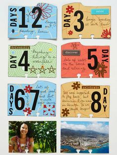Day-by-Day Cards for Flip File ~~ Don't let a single day of a great vacation slip from your mind. Create dividers by covering index tab cards with decorative paper. Add the day number with stickers and jot down the day's activities. Travel Crafts, Journaling, Project Life Cards, Vacation Memories, Rolodex, Index Cards, Art Journal Pages, Scrapbook Paper Crafts, Smash Book